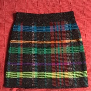 Plaid Knit Mini Skirt